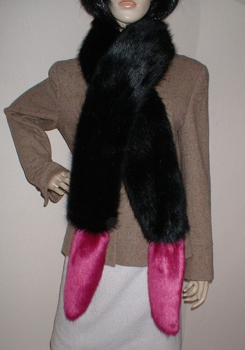 Black Bear and Hot Pink Mink Faux Fur Boa Scarves
