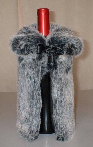Arctic Wolf Faux Fur Bottle Wrap