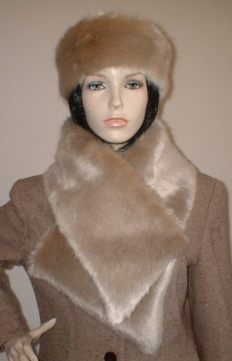 Honey Blonde Faux Fur Vintage Asymmetric Scarf