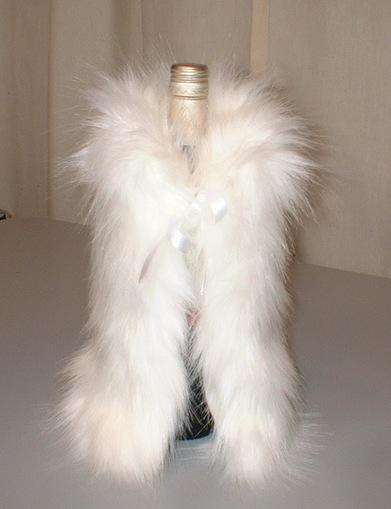 Polar Bear Faux Fur Bottle Wrap