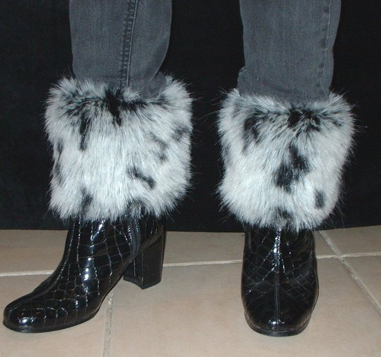 Winter Leopard Faux Fur Boot Toppers