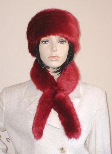 Ruby Red Faux Fur Slim Collar/Headband
