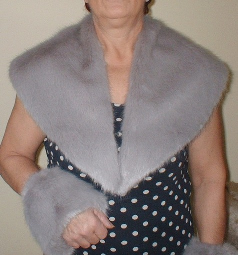 Silver Mink Faux Fur Shawl Collar