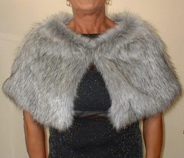 Silver Musquash Faux Fur Capelet