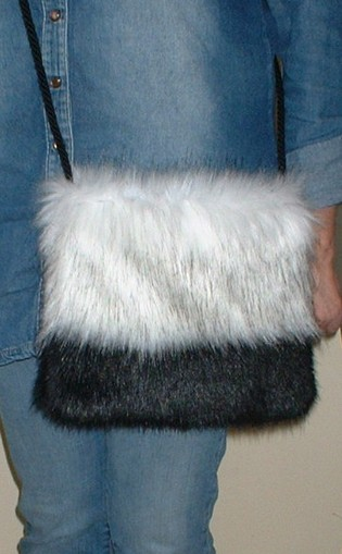 Alaska and Black Mink Faux Fur Shoulder Bag