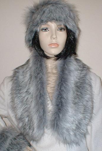 Silver Musquash Faux Fur Neck Scarf Faux Fur Throws
