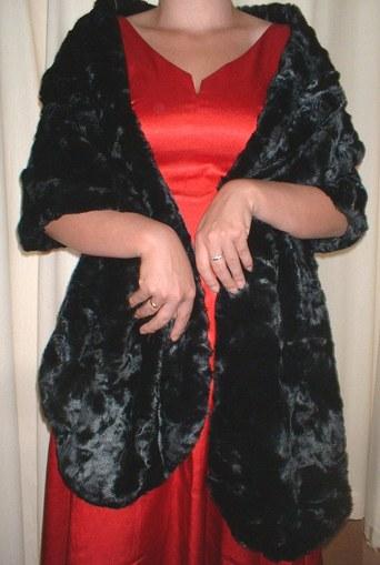 Black Astra Long Faux Fur Stole