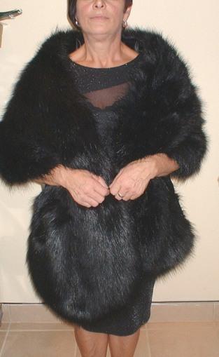 Black Bear Faux Fur Long Stole