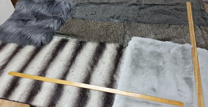 Faux Fur Pieces Per Meter: Greys & Silvers