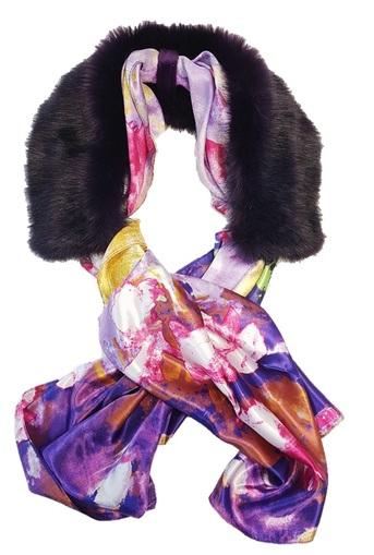 Amethyst Faux Fur and Silk Scarf Collar