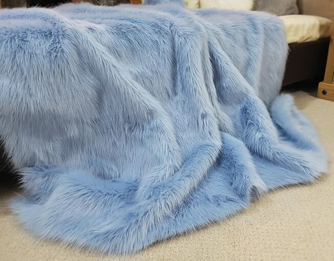 SALE Baby Blue Faux Fur Throw & Cushions