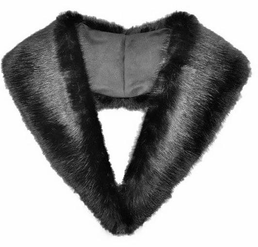 Black Mink Faux Fur Lapel Collar