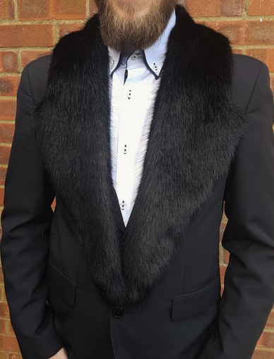 Black Bear Faux Fur Mens Lapel Collar