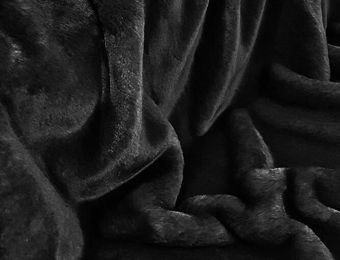Black Softee Faux Fur Fabric Per Meter