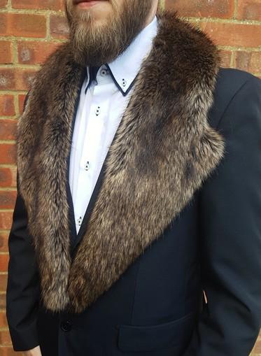 Brown Bear Faux Fur Mens Lapel Collar