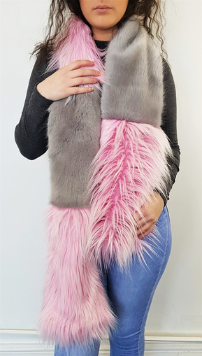 Candy and Silver Mink Faux Fur Striped Scarf