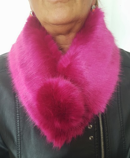 Hot Pink Faux Fur Pom Pom Collar