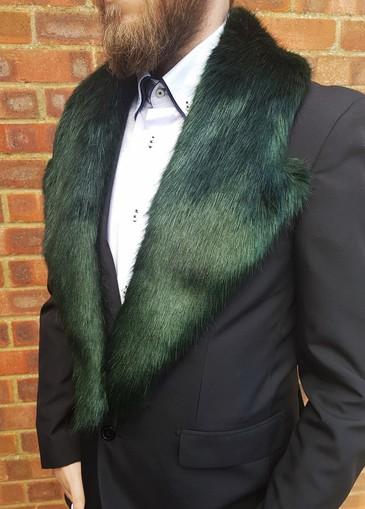 Hunter Green Faux Fur Mens Lapel Collar