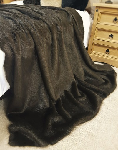 SALE Mahogany Mink Faux Fur Throw with Chocolate Velboa
