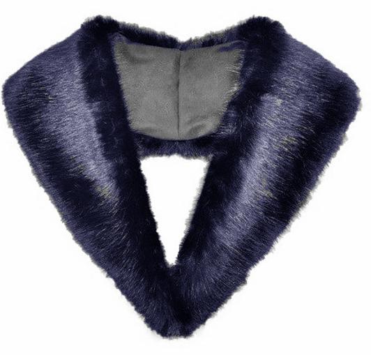 Midnight Navy Blue Faux Fur Lapel Collar