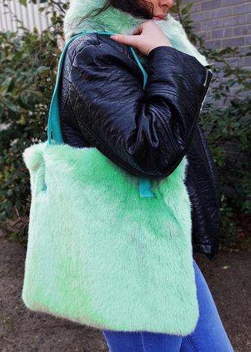 Tissavel Mint Faux Fur Tote Handbag
