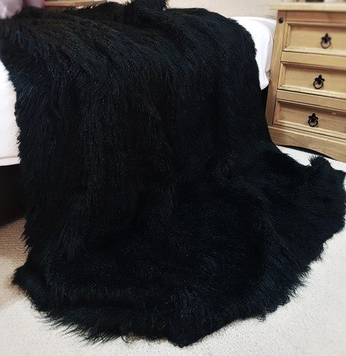 Mongolian Black Faux Fur LARGE Swatch