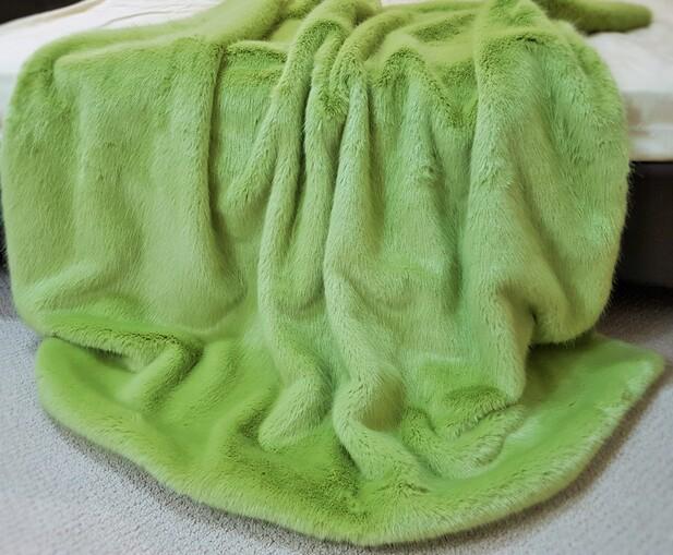 SALE Pistachio Faux Fur Throws with Cream Velboa