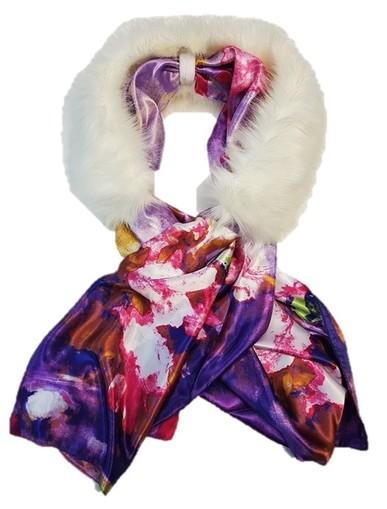 Polar Bear Faux Fur and Silk Scarf Collar
