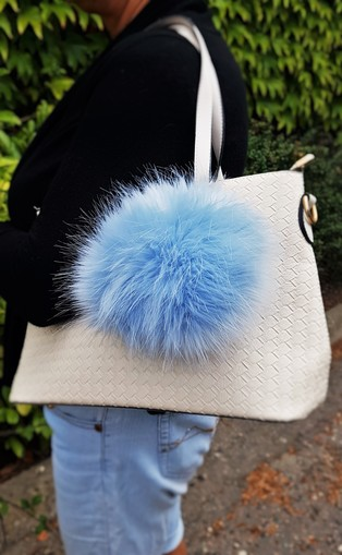 Baby Blue Faux Fur Giant Pom Pom