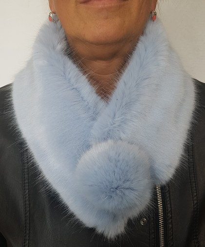 Powder Blue Faux Fur Pom Pom Collar
