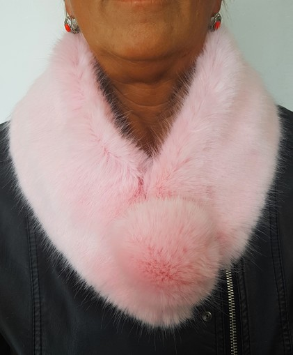 Raspberry Cream Faux Fur Pom Pom Collar