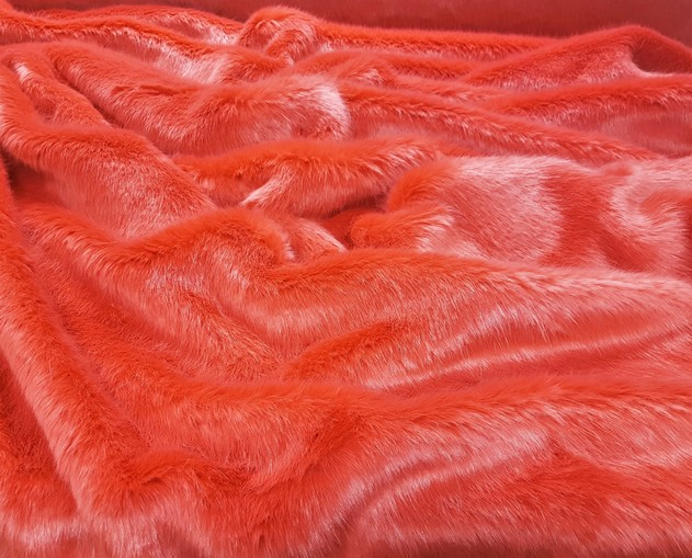 Salmon Faux Fur Fabric