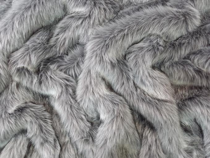 Silver Musquash Faux Fur Fabric Per Meter
