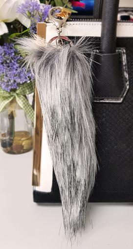 Faux Fur Tail Handbag Key Charm