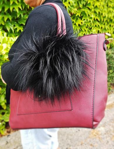 Long Black Bear Faux Fur Giant Pom Pom