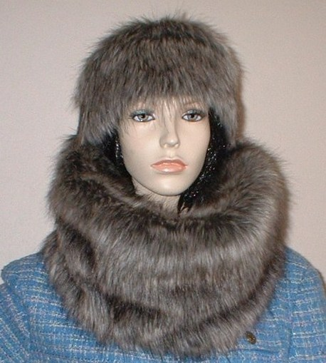 Timber Wolf Faux Fur Hat Medium Size