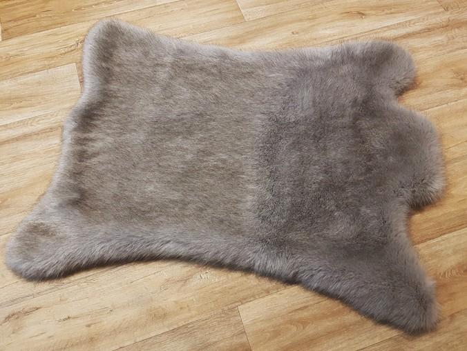 Tissavel Tundra Grey Faux Fur Animal Shape Rug