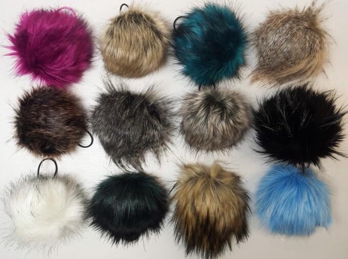 Faux Fur Pom Pom Keyrings
