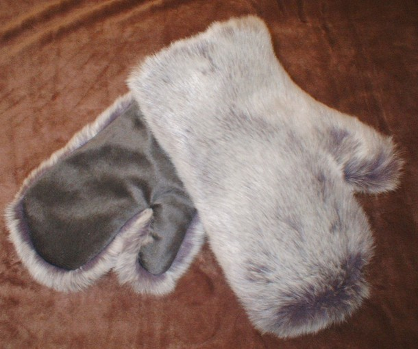 Silver Lavender Fox Faux Fur Mittens