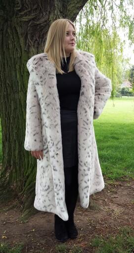Snow Lynx Faux Fur Long Coat