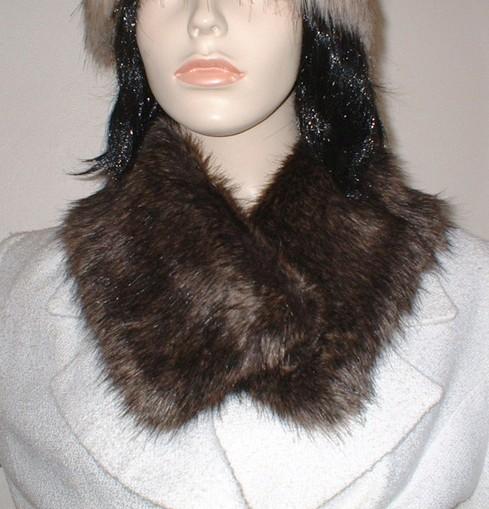 Brown Bear Faux Fur Long Collar