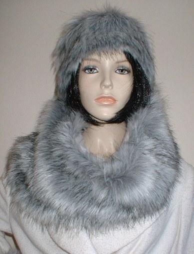 Silver Musquash Faux Fur Cowl/ Neck Warmer