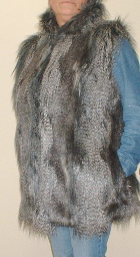 Grey Wolf Faux Fur Long Gilet