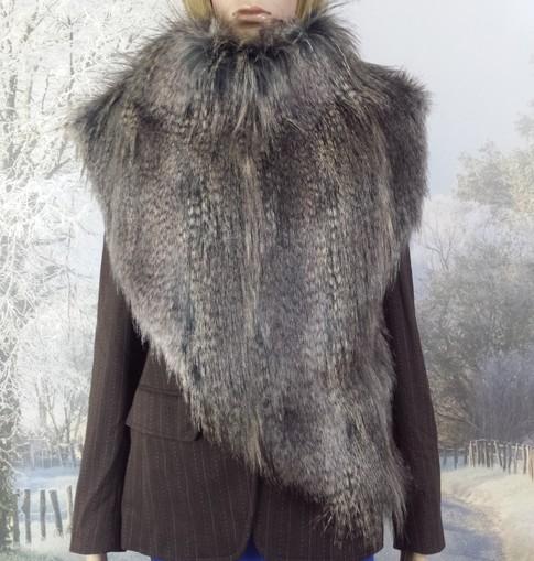 Grey Wolf Faux Fur Huntress Cowl