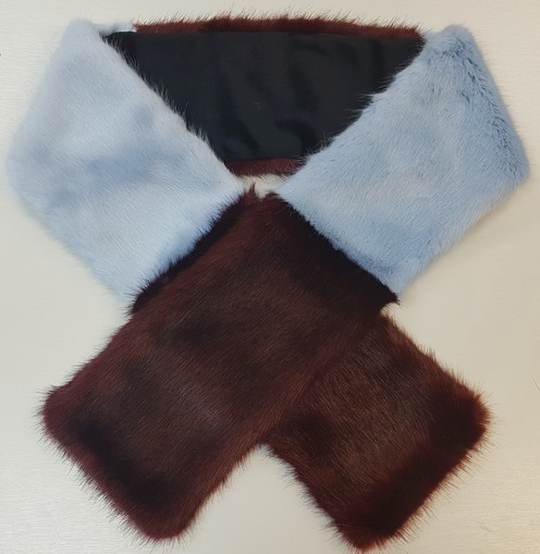Burgundy Wine and Powder Blue Faux Fur Team Scarf