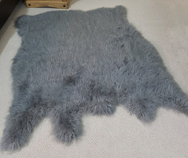 Mongolian Grey Faux Fur Animal Shape Rug