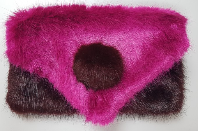 Hot Pink & Wine Mink Faux Fur Clutch Bag