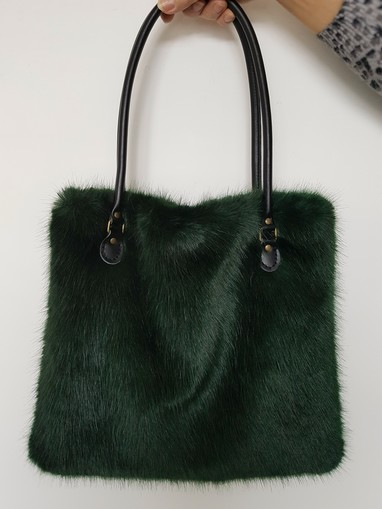 Hunter Green Faux Fur Bag