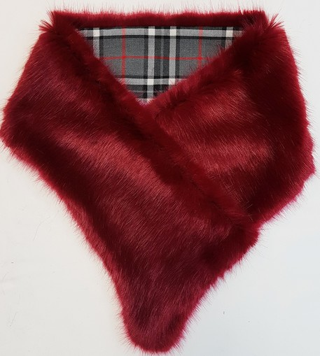 Ruby Red and Tartan Asymmetric Scarf