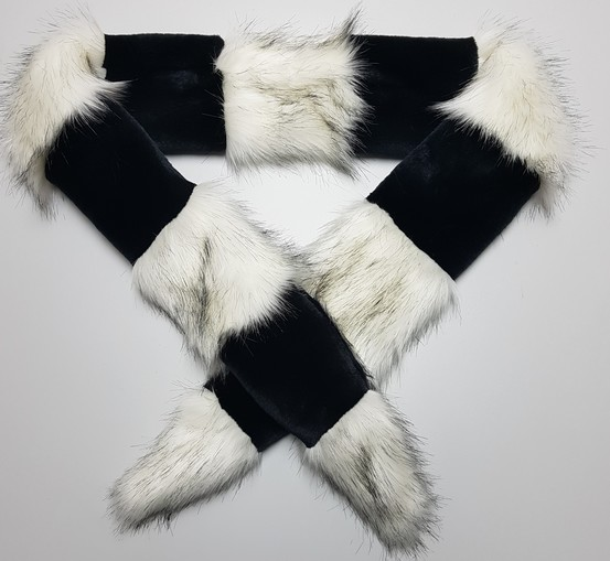 Black Moleskin and Alaska Faux Fur Cheshire Scarf